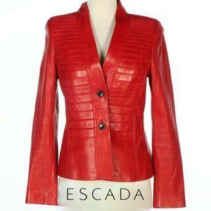 EUC ESCADA Red Leather Blazer Jacket, Size Small